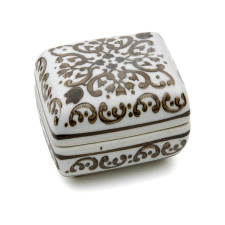 Oriental Furniture 3.5 in. Floral Porcelain Small Jewelry Box