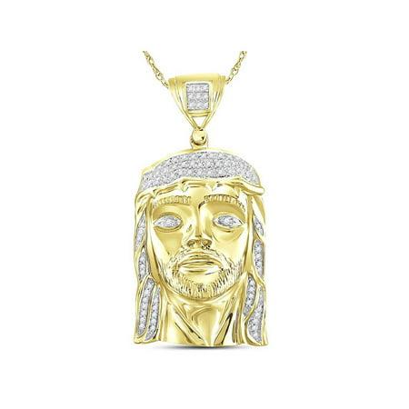 Yellow-tone Sterling Silver Mens Round Diamond Jesus Face Christ Charm Pendant 1/4 Cttw - image 1 de 1