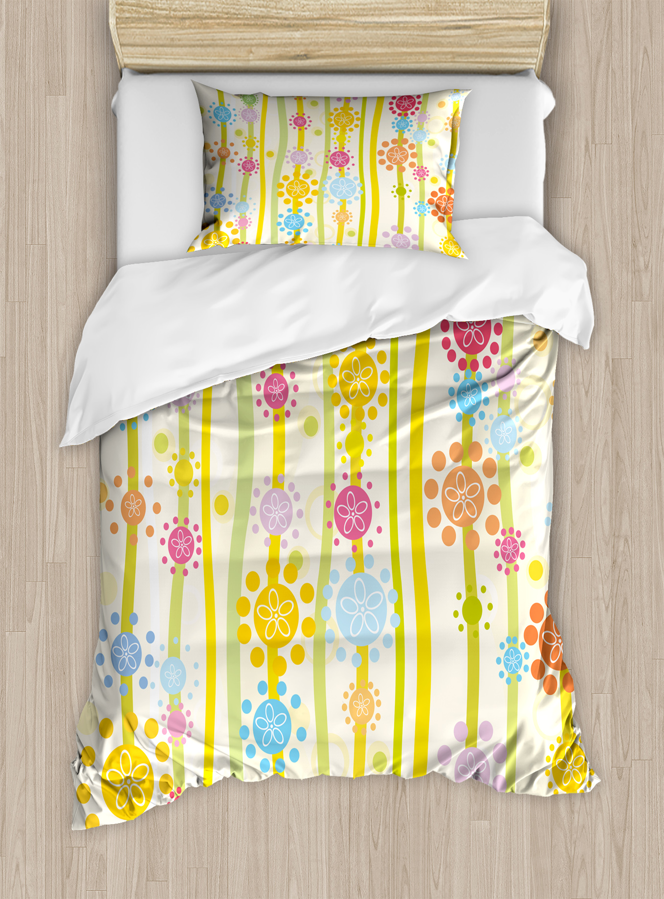 Floral Twin Size Duvet Cover Set, Vertical Lines with Colorful Cartoon Style Flowers and... by Kozmos