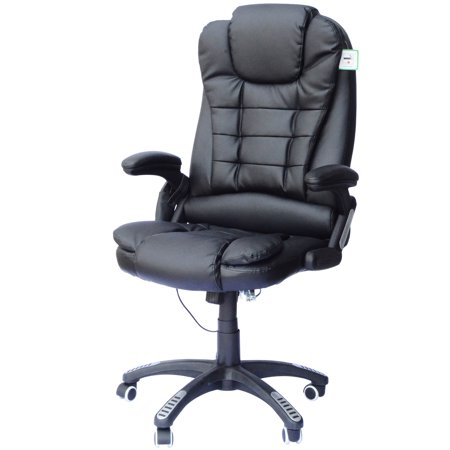 HomCom Heated Vibrating Massage Office Chair Executive Ergonomic PU Leather - Black