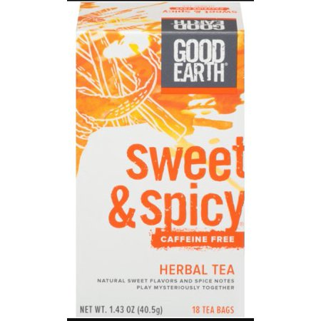 - Good Earth Herbal & Black Tea, Sweet & Spicy, Caffeine Free, Tea Bags, 18 Ct