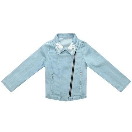 Richie House Little Girls Blue Denim Embroidered Coat 3 (Denim Jacket Girls)