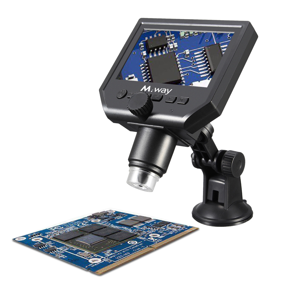 MWAY Portable Digital Microscope 3.6MP 600x Sensor Zoom LCD kit with1080P/720P/VGA Stereo Camera Vedio Microscope for QC/Industrial/Collection Inspect