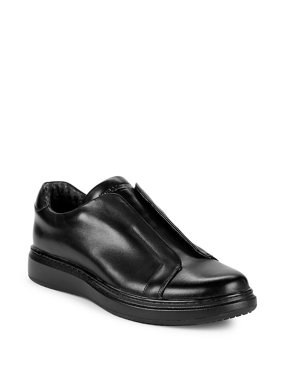 Flap Leather Slip-On Sneakers