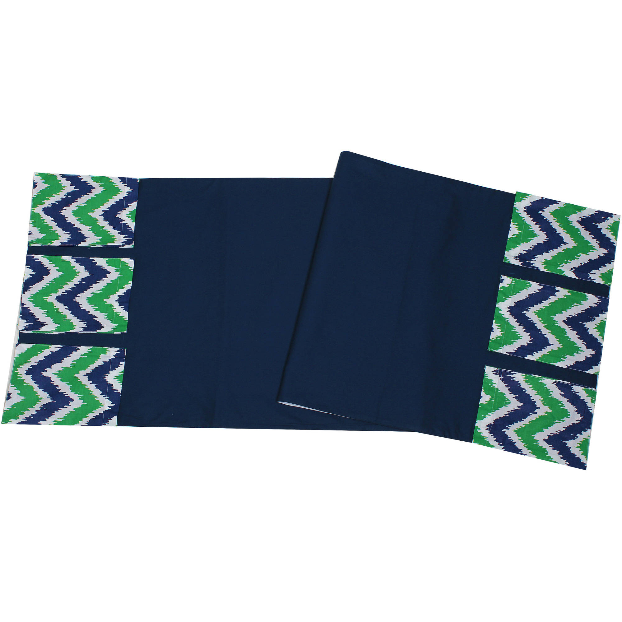 Bacati - MixNMatch Navy/Green Zigzag, Changing Table Storage Runner