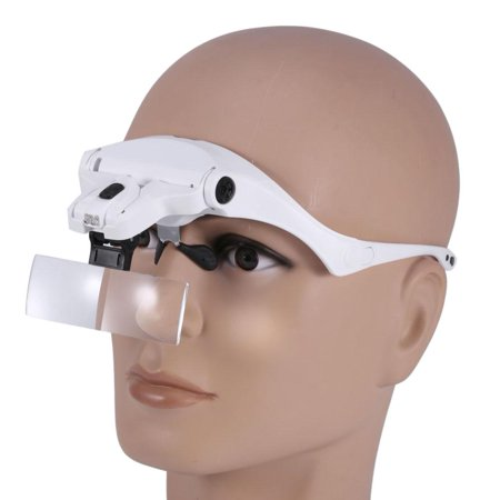 Tbest New 5 Lens Headset Magnifier With LED Lights Hand Free Magnifying Glass Eyelash Extension , Magnifying Glass, Headset Magnifier