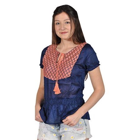 Short Sleeve Blue With Peach Lace Top Tassle String