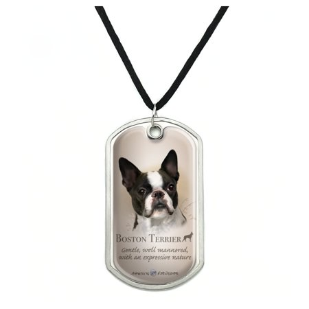 Boston Terrier Dog Breed Military Dog Tag Pendant Necklace with Cord Boston Celtics Jewelry