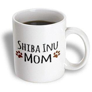 3dRose Shiba Inu Dog Mom - Doggie by breed - muddy brown paw prints - doggy lover - proud pet owner mama, Ceramic Mug,