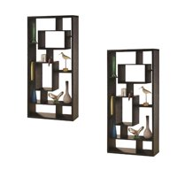 Set Of 2 Asymmetrical Cube Bookcase In Black Finish
