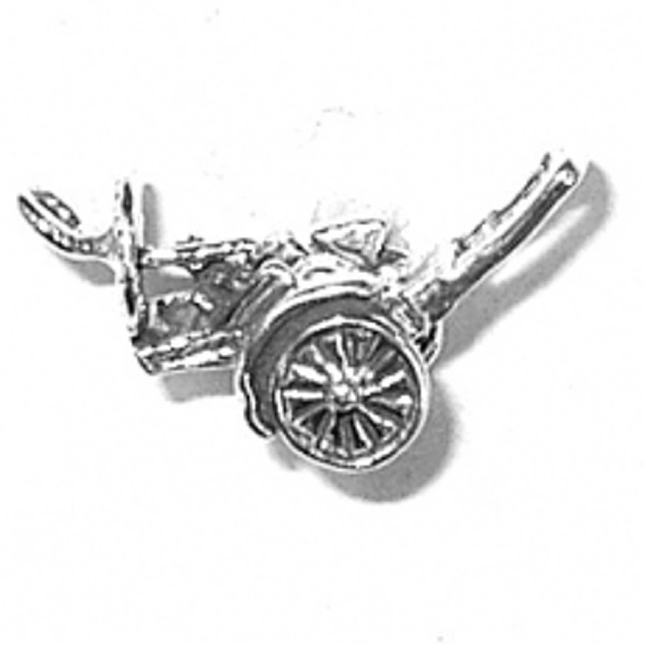 Sterling Silver Girls .8mm Box Chain 3D Childs Tricycle Bike Pendant Necklace
