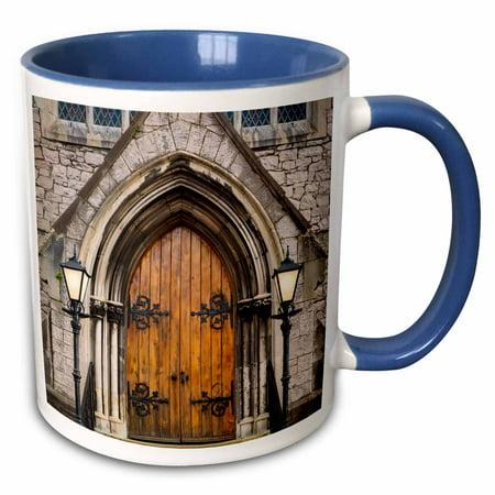Trinity Mug - 3dRose Doors at entrance to Trinity Presbyterian Church, Cork, Ireland. - Two Tone Blue Mug, 11-ounce
