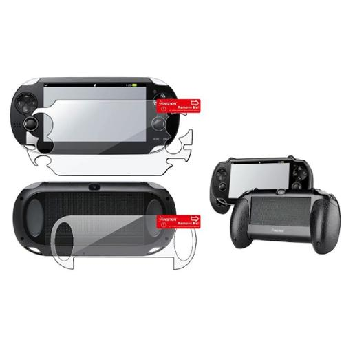 Insten Clear Full Body Protector + Black Hand Grip For Sony Playstation PS Vita
