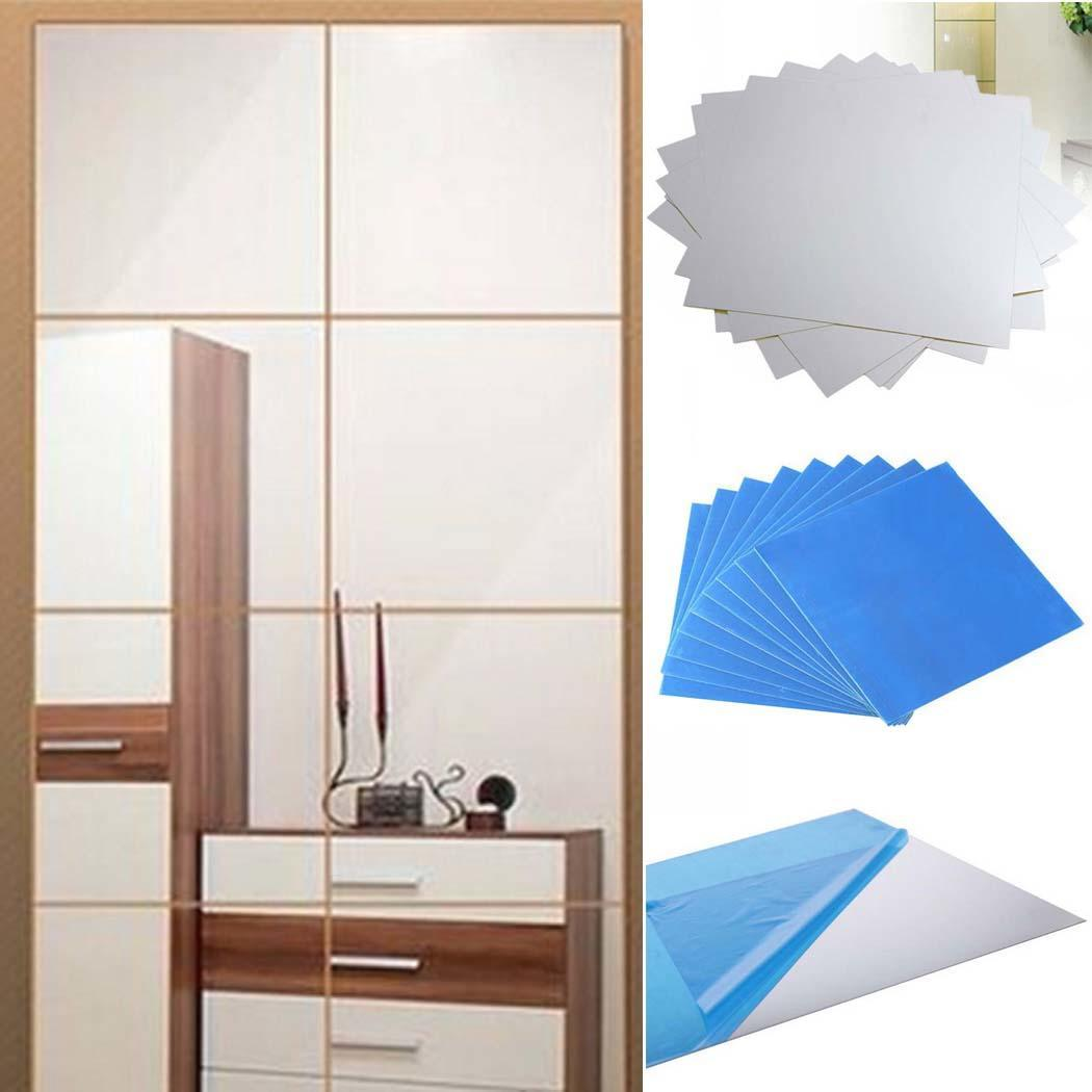 Clearance! 9pcs Square Mirror Tile Wall Stickers DIY 3D Decal Mosaic Home Decorations TPBY by