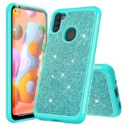 for Samsung Galaxy A11 with Tempered Glass Phone Case Glitter Shock proof Edge Scratch Shield Hybrid Layers Slim Bumper Cover (Teal)