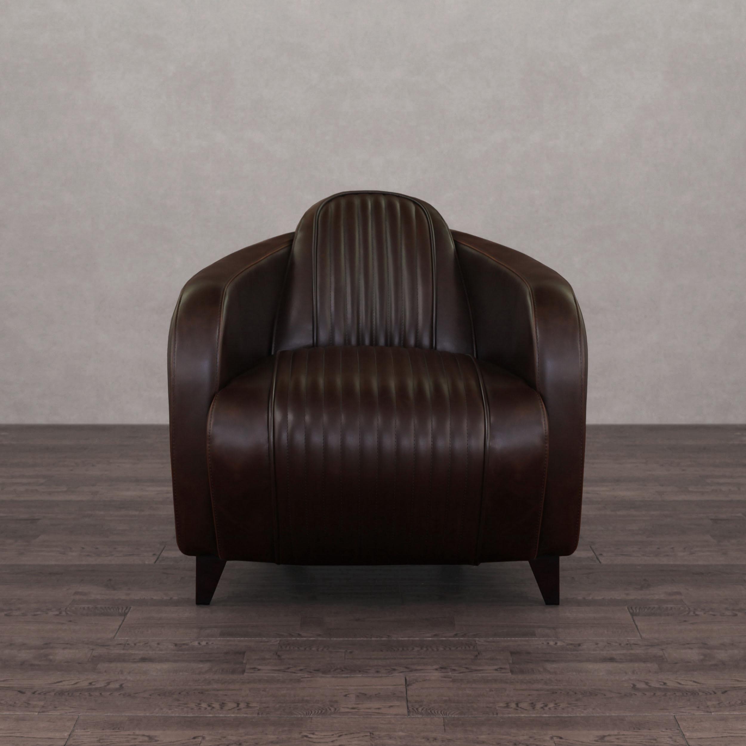 I Love Living Jupiter Vintage Tobacco Leather Chair   Walmart.com