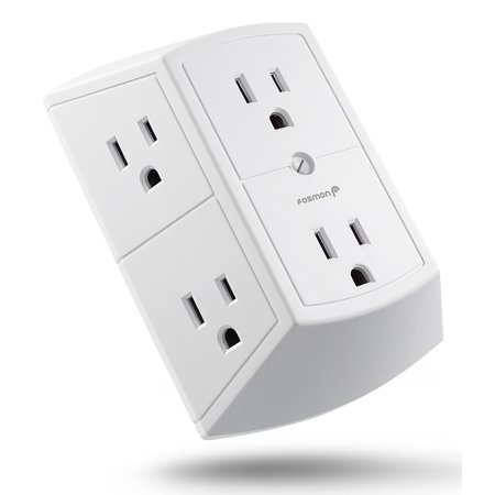 - 6 Outlet Wall Adapter Tap, Fosmon ETL Listed 15A 125VAC 60Hz 1875Watts 3 Sided Grounded Indoor AC Plug - White
