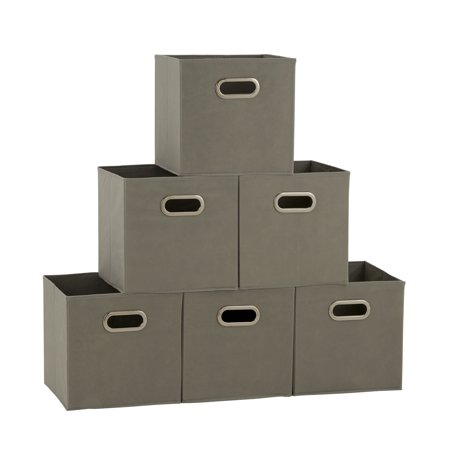 Household Essentials Open Fabric Storage Cube Bins, Set of 6, Teafog