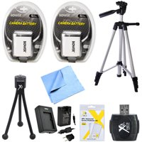 NB-6L 2X Battery Charger Full & Table Top Tripod Micro Fiber Cloth USB Card Reader 8PC Kit for Canon Powershot SD770IS SD1200IS D10 SD3500 IS, SD980 IS, SX270 HS, SX280 HS, CB-2LY Digital Cameras
