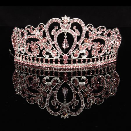 LuckyFine Rhinestone Wedding Tiara Crown Headband Crystal Bridal Headpiece Pageant Hair Accessory for Women