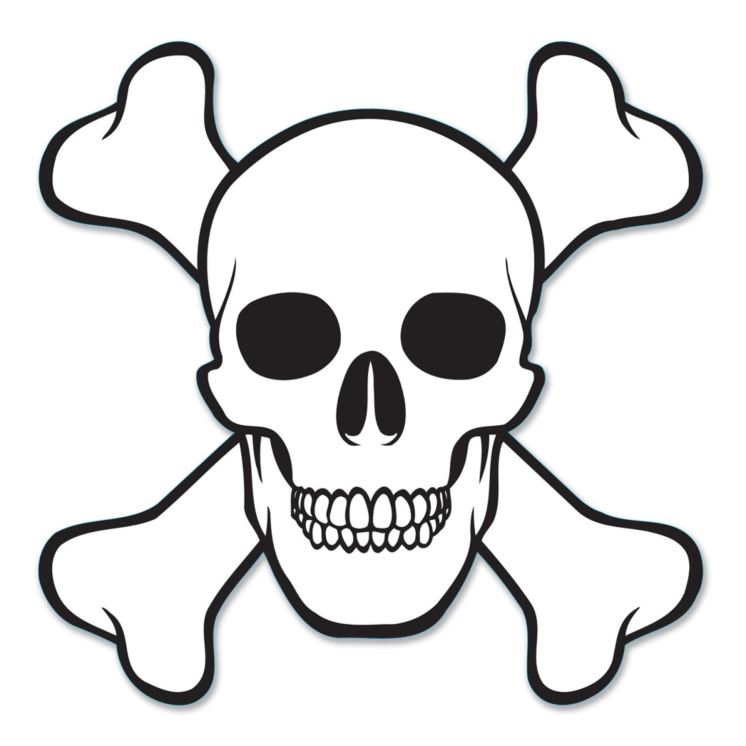 """Club Pack of 12 Pirate Themed Skull & Crossbones Cutout Decorations 16"""""""