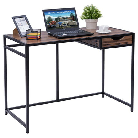 Costway Computer Desk PC Laptop Table Wood Top Metal Frame Writing Study Workstation ()
