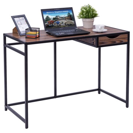 Costway Computer Desk PC Laptop Table Wood Top Metal Frame Writing Study Workstation