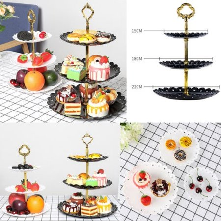 3 Tier Plastic Cake Stand Afternoon Tea Wedding Plates Party Tableware Popular (Fancy Cake Stand)