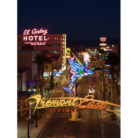 Neon Casino Signs Lit Up at Dusk, El Cortez, Fremont Street, the Strip, Las Vegas, Nevada, USA Print Wall