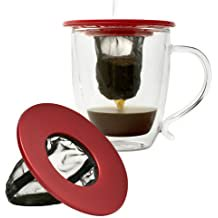 Primula Single Serve Coffee Brew Buddy – Nearly Universal Fit – Ideal for Travel – Eco-Friendly Reusable Fine Mesh Filter – Dishwasher Safe – Red Dishwasher Safe Filters