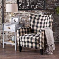 Noble House Plaid Fabric Club Accent Chair, Black, White