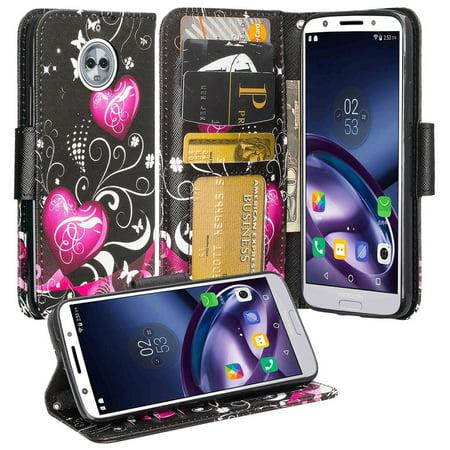 SOGA Cover for Phone Compatible Model Moto G6 Plus Case, PU Leather Magnetic Flip Wallet Cover for Motorola Moto G6 Plus - Black Heart
