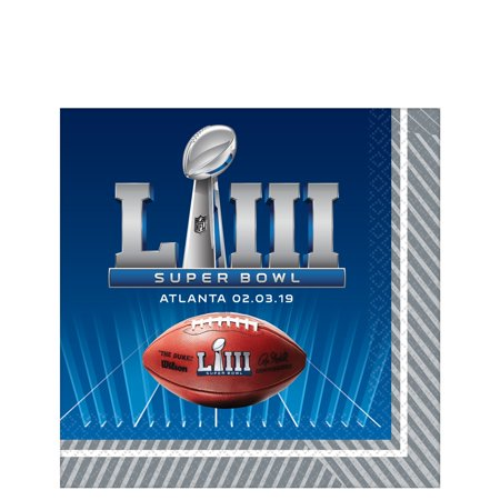 Amscan 2019 Super Bowl LIII 53 Football Party 13in Luncheon Napkins, 16 CT (Superbowl Parties)