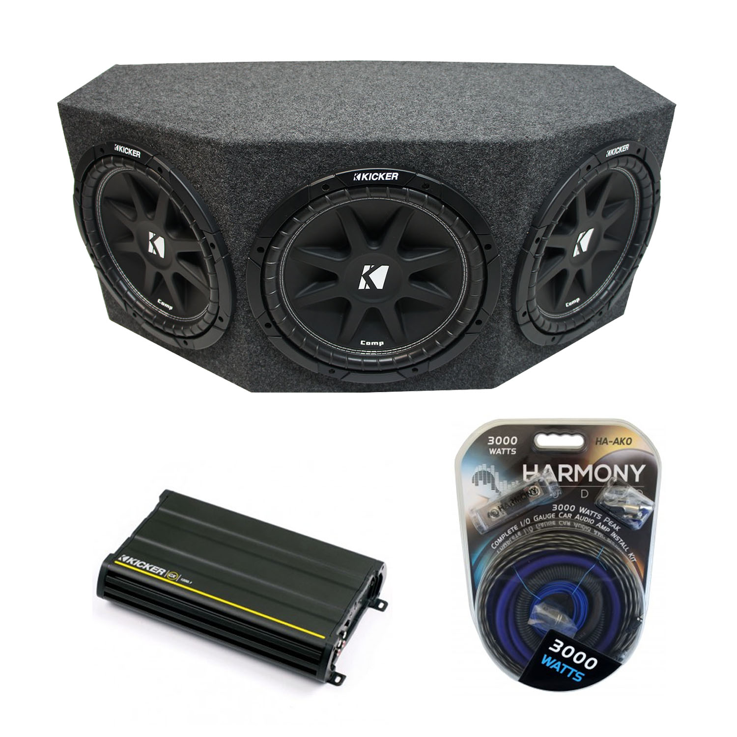 "Kicker Comp C12 Triple 12"" Subwoofer Loaded 1800 Watt Sub Box & CX1200.1 Amp - Factory Certified Refurbished"