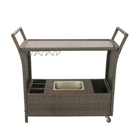 Bar Chest (Baner Garden S-300 Patio Rattan Outdoor Garden Brown Rolling Wheeled Wicker Chest Portable Bar Cart Service Cart on 2 Rolling Wheels with Stainless Ice Bucket with Cover Wine Rack and Storage Bar Cart )