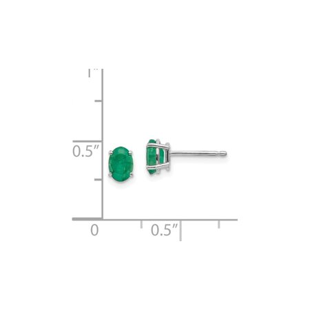Natural Oval Green Emerald Earrings 1/2 Carat (ctw) in 14K White Gold - image 1 de 3