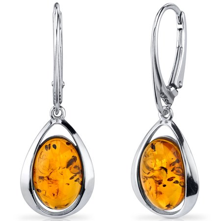 Peora Oval Shape Baltic Amber Sterling Silver Drop Earrings Rhodium - Cosmo Amber Finish