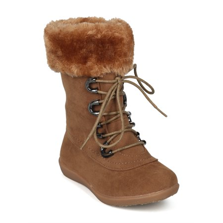 New Girls Faux Suede Lace Up Faux Fur Cuffed Winter Boot - 18068 By Jelly Beans for $<!---->