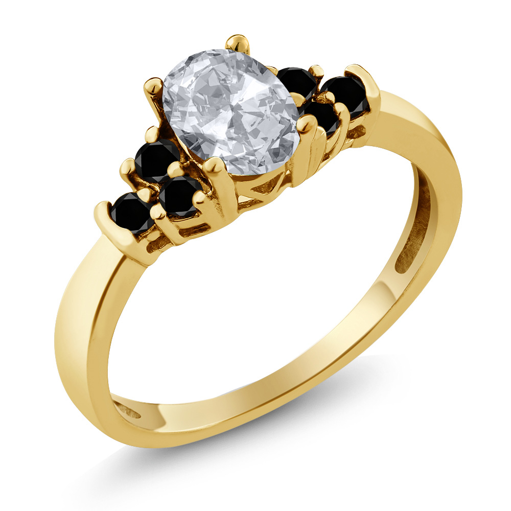 0.75 Ct Oval White Topaz Black Diamond 18K Yellow Gold Ring