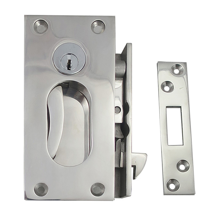 White Water S12-410 Stainless Steel Sliding Door Lock Set with Key