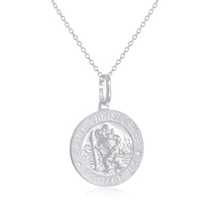 Large Round Silk Pendant - Real 925 Sterling Silver Saint Christopher