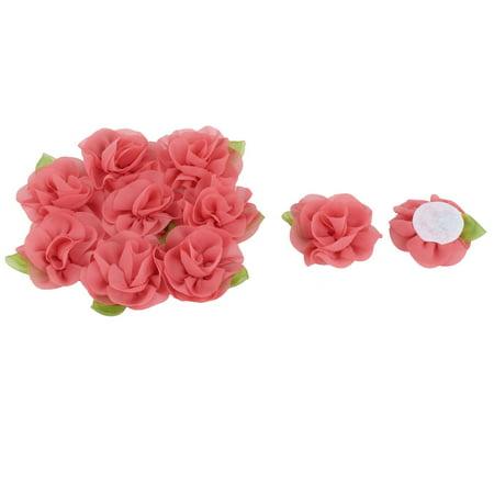 - Chiffon Rose Appliques Decor Wedding Ornament Ribbon Flower Watermelon Red 10pcs