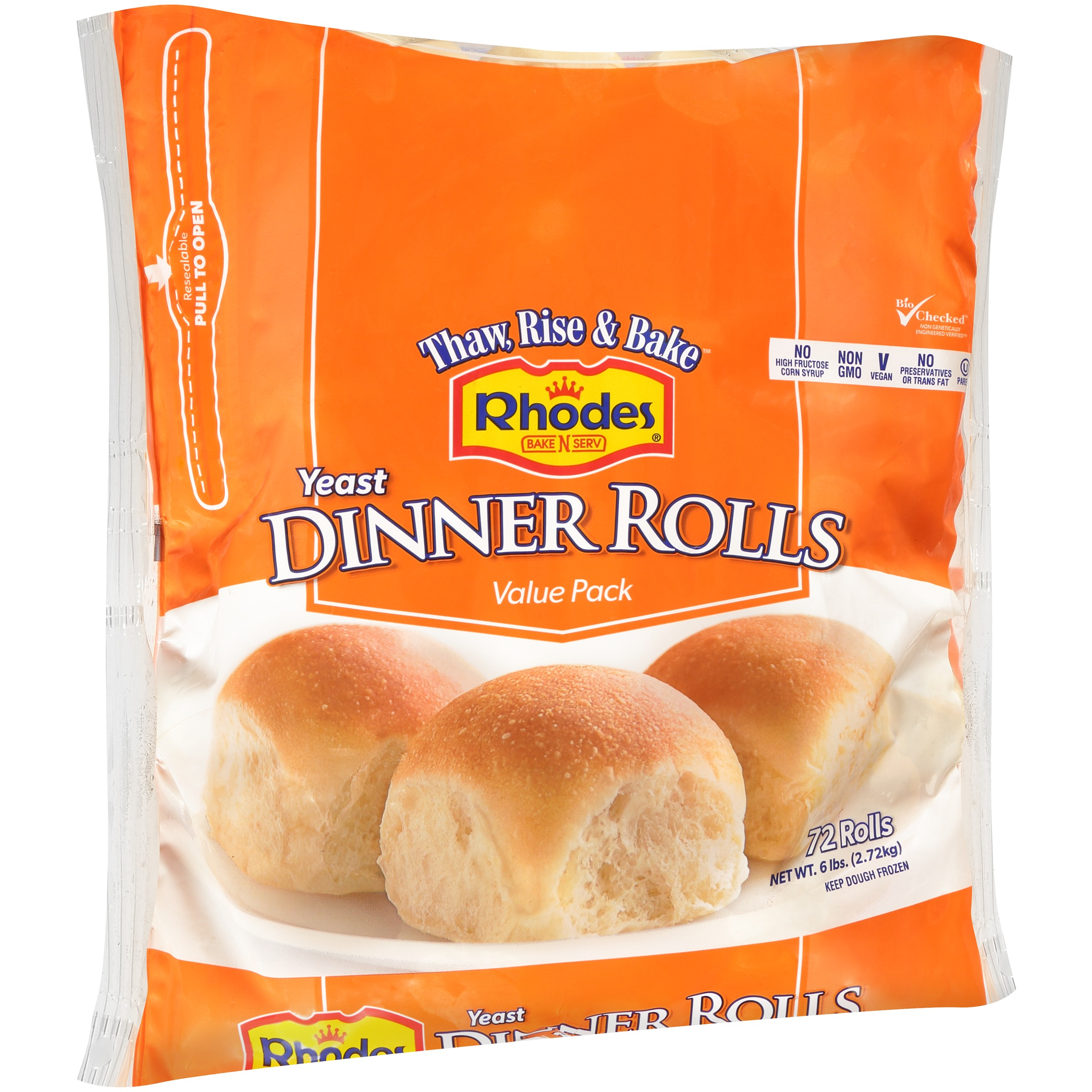 Rhodes Bake N Serv Frozen White Dinner Rolls Dough 72 Ct Bag