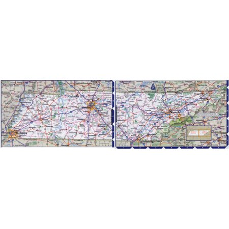 Laminated Map - Large detailed roads and highways map of Tennessee state with all cities Poster 24 x (Map Of All 50 States And Cities)