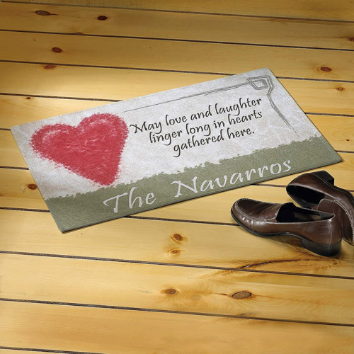 Personalized Hearts Gather Here Doormat