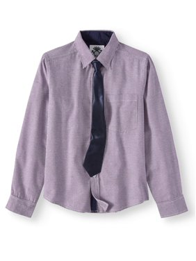 English Laundry Long Sleeve Button Up Dress Shirt with Tie (Big Boys)