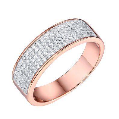 Rose Gold Wedding Ring Mens Engagement Band Cubic Zironia Sterling Silver 925