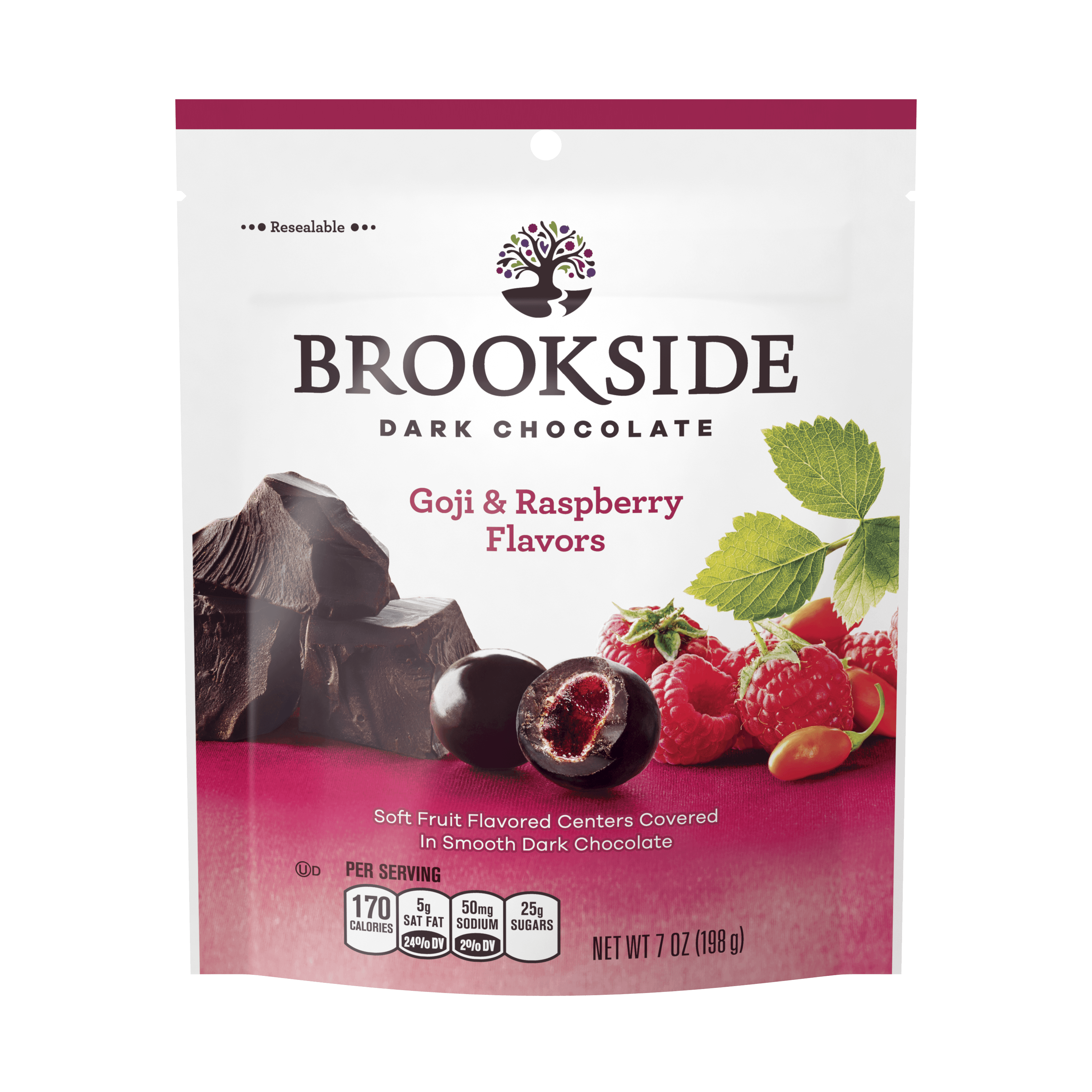 Brookside, Goji & Rasberry Dark Chocolate Candy, 7 Oz