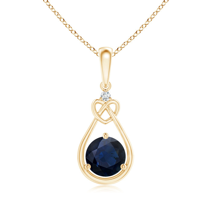 Angara Sapphire Knotted Heart Pendant with Diamond