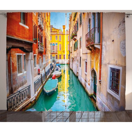 - Venice Curtains 2 Panels Set, Vibrant Colorful Venice View Canal Buildings Gondolas Green Water Romantic Landmark, Window Drapes for Living Room Bedroom, 108W X 63L Inches, Multicolor, by Ambesonne